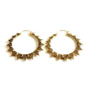 Brass Spiked Hoop Earrings (Pair)