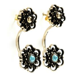 Brass Flower Studs with Turquoise Ear Jackets Earrings (Pair)