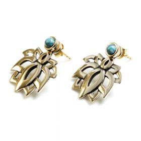 Brass Turquoise Studs with Lotus Ear Jackets Earrings (Pair)