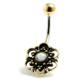Brass Flower with Opal Navel