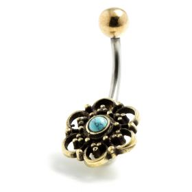 Brass Flower with Turquoise Navel