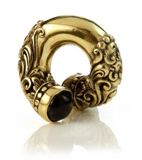 Mandala Jewellery - Black Opal Brass Ornate Ear Twists (Individual)