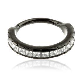 Gun Metal Steel Hinged Jewelled Conch Ring