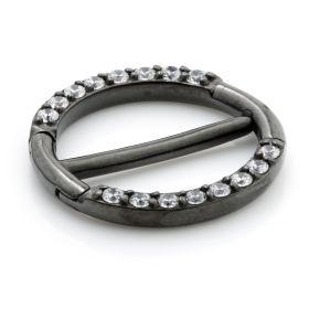 Gun Metal Steel Jewelled Double Nipple Clicker
