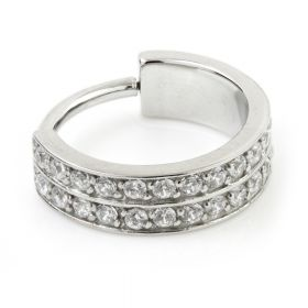 Steel Hinged Double Jewelled Conch Ring