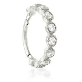 Steel Hinged Milli Grain Crystal Conch Ring