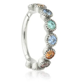 Steel Hinged Milli Grain Mix Jewelled Conch Ring
