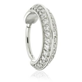 Steel Hinged Double Angled Jewelled Conch Ring