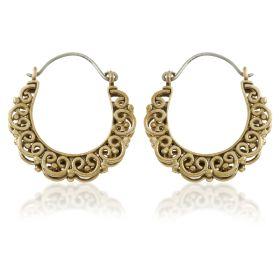 Small Copper Tribal Double Sided Hoop Earrings (Pair)