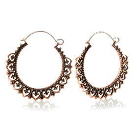 Copper Heart Hoop Earrings (Pair)