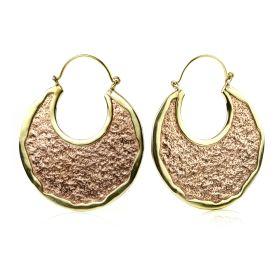 Copper And Brass Disk Hoop Earrings (Pair)