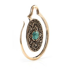 1x Large Oval Copper Weight with Turquoise
