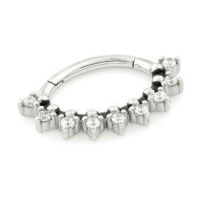 Steel Hinge Multi Gem Daith Ring