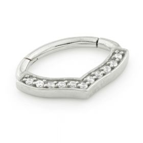 Steel Hinge Gem Bow Shape Daith Ring