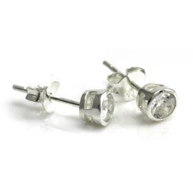 Pair Round Bezel Set Ear Studs