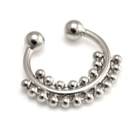 Fake Steel Septum Ring with Double Dot Surround