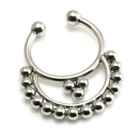 Fake Steel Septum Ring with Cemi-Circle