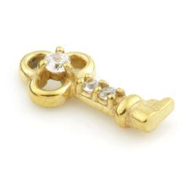 24K Gold Steel Crystal Key Charm for Hinge Segment Ring / BCR