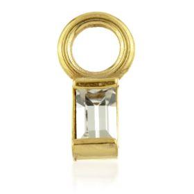 24K Gold Steel Crystal Rectangle Charm for Hinge Segment Ring / BCR