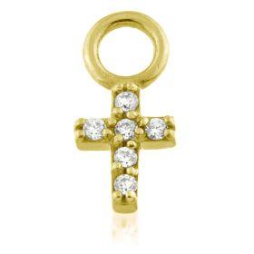 24K Gold Steel Crystal CROSS Charm for Hinge Segment Ring / BCR