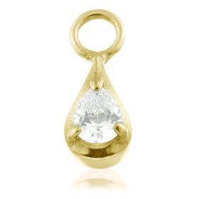 24K Gold Steel Crystal TEAR Charm for Hinge Segment Ring / BCR