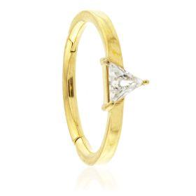 24K Gold Steel Hinged Trillian Gem Conch Ring