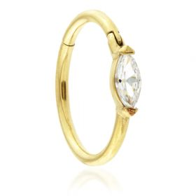 24K Gold Steel Hinged Marquese Gem Conch Ring