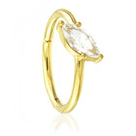 24K Gold Steel Hinged Slated Marquese Gem Conch Ring