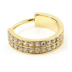 24K Gold Steel Hinged Double Jewelled Conch Ring