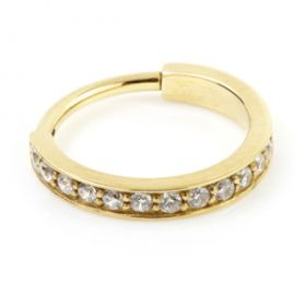 24K Gold Steel Hinged Jewelled Conch Ring