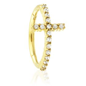 24K Gold Steel Hinged Cross Crystal Conch Ring