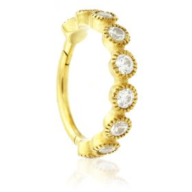 24K Gold Steel Hinged Milli Grain Crystal Conch Ring