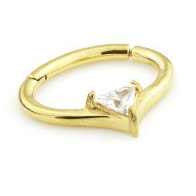 24K Gold Steel Hinge Trillion Gem Daith Ring