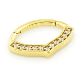 24K Yellow Gold Steel Hinge Gem Bow Shape Daith Ring