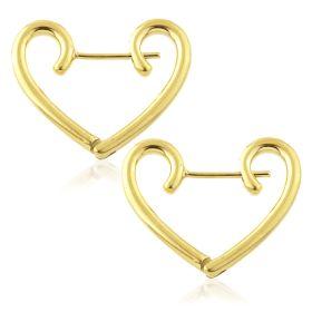 Steel Gold Heart Hoop Earrings (Pair)