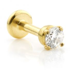 Ti Couture Internal 24K Gold PVD Labrets with Claw Set Gem 1.2mm