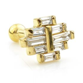 Ti Couture Internal 24K Gold PVD Labret with Baguette Cluster Gem Top 1.2mm