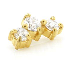 24K Gold Steel Triple Gem Crescent Attachment