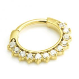 24K Yellow Gold PVD Large Jewelled Septum Ring