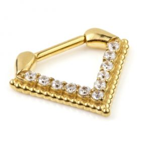 24K Gold Steel Inverted Jewelled Triangle Septum Ring