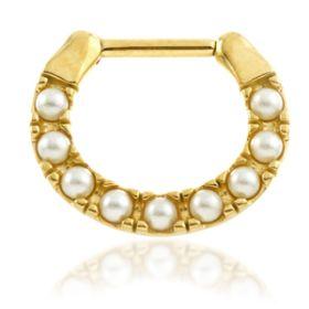 24K Gold Steel Pearl Septum Ring