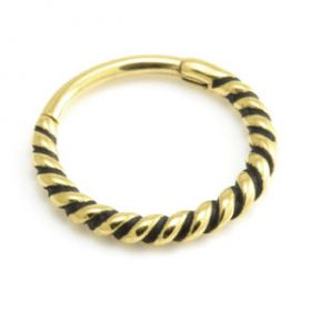 24K Yellow Gold PVD Twisted Hinge Ring Small