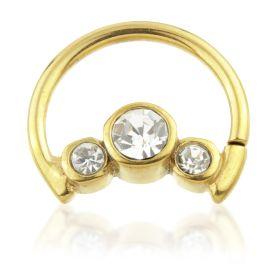 24K Gold Steel Moon Shaped Steel Triple Gem Ring