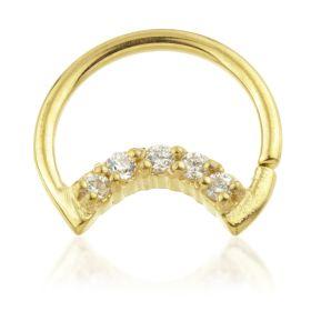 24K Gold Steel Moon Shaped Steel Pave Gem Ring
