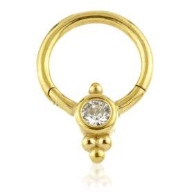 24K Gold Steel Couture Gem Cluster Hinge Segment Ring