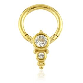 24K Gold Steel Couture  Double Gem Cluster Hinge Segment Ring