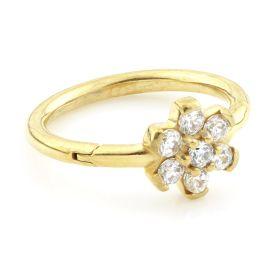 24K Gold Steel Flower Gem Hinged Micro Ring