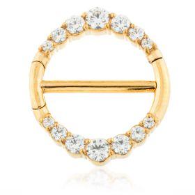 Gold Steel Graduated Jewelled Double Nipple Clicker
