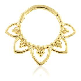 24K Gold Steel Lotus Petal Hinge Daith Ring