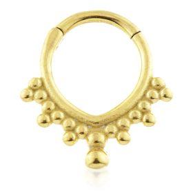 24K Gold Steel V Shape Hinge Segment Ring